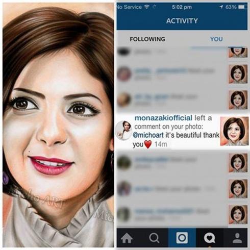 بالصورة منى زكى تترك تعليقآ لشاب قام برسم صورتها شاهد ردة فعل الشاب بعد تعليقها